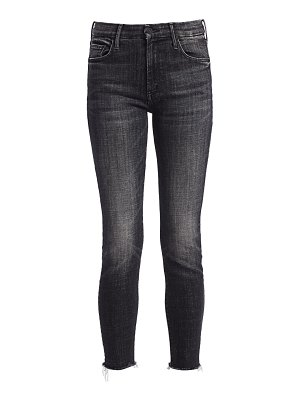 MOTHER looker high-rise fray ankle skinny jeans