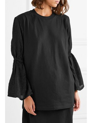 Mother of Pearl cassandra organic cotton-jersey and embroidered voile top