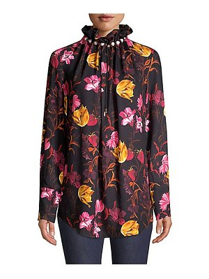 Mother of Pearl dorothea faux-pearl floral blouse