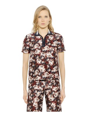 Mother of Pearl Javel floral cotton & silk polo shirt