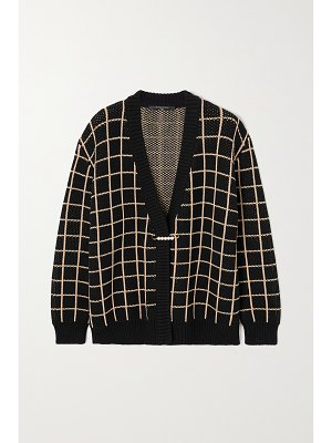Mother of Pearl + net sustain blake checked organic cotton-blend cardigan