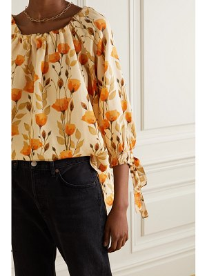Mother of Pearl net sustain bobbie gathered floral-print lyocell-twill blouse