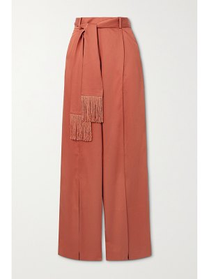 Mother of Pearl + net sustain leo belted fringed lyocell wide-leg pants