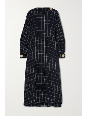 Mother of Pearl + net sustain seren embellished checked twill midi dress