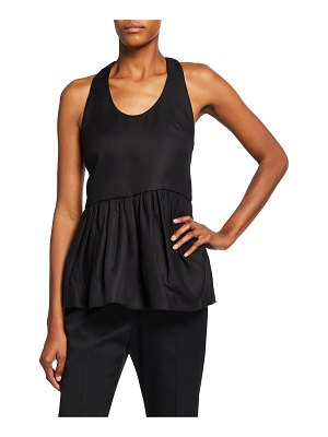 Mother of Pearl Sleeveless Gathered Peplum Top with Back Buttons