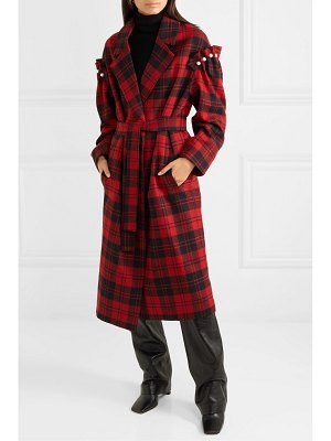 Mother of Pearl net sustain webb belted faux pearl-embellished checked wool coat