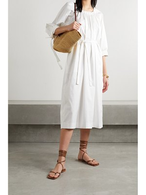 Mother of Pearl zariah belted ruched cotton-blend poplin midi dress