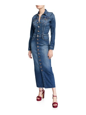 MOTHER The Cover Up Button-Front Denim Maxi Dress