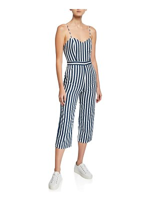 MOTHER The Cut-It-Out Striped Sleeveless Jumpsuit