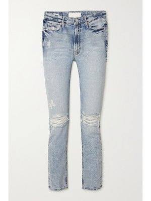 MOTHER the dazzler cropped distressed high-rise straight-leg jeans