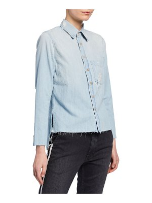 MOTHER The Foxy Slice Fray Button-Up Shirt