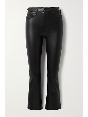 MOTHER the insider crop faux stretch-leather flared pants