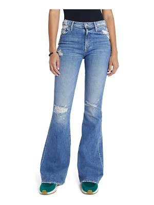 MOTHER the super cruiser ripped high waist flare jeans