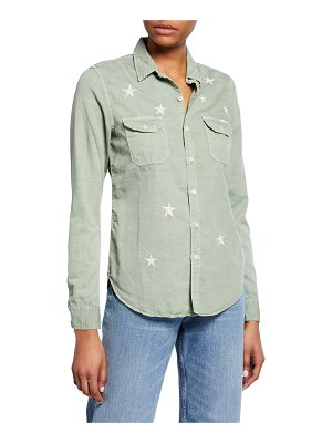 MOTHER The Trooper Button-Down Shirt with Stars