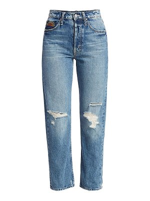 MOTHER tomcat high-rise ankle cropped straight jeans