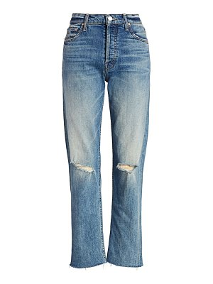 MOTHER tomcat high-rise distressed straight-leg jeans