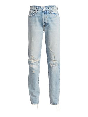 MOTHER trickster high-rise straight-leg distressed jeans