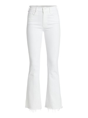 MOTHER the weekender mid-rise flare fray hem jeans