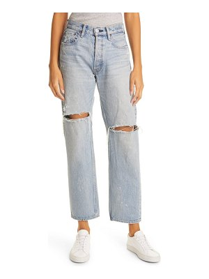 Moussy teaneck ripped wide straight leg jeans