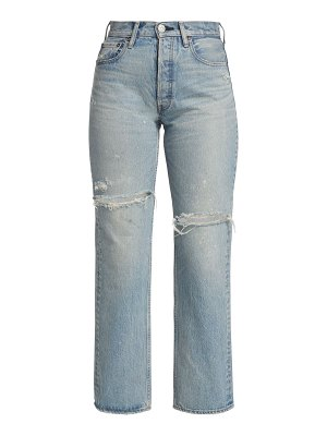 Moussy Vintage teaneck distressed wide straight-leg jeans