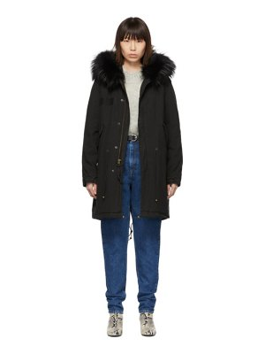 Mr and Mrs Italy black long fur army parka