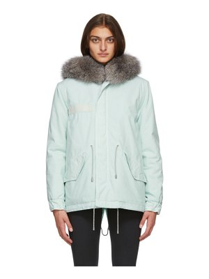 Mr and Mrs Italy blue fur mini parka