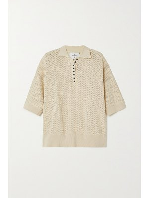 Mr Mittens oversized pointelle-knit cotton polo shirt