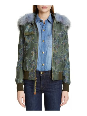 Mr & Mrs Italy camo bomber jacket with removable genuine fox fur trim