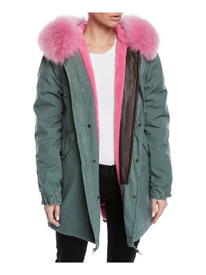 Mr & Mrs Italy Fox-Fur Trim Canvas Parka Jacket w/ Teddy Velvet Lining