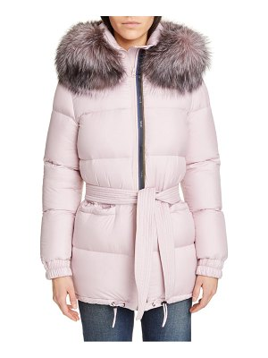 Mr & Mrs Italy genuine fox fur trim quilted down puffer coat