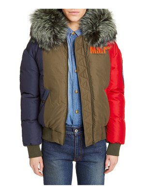 Mr & Mrs Italy mr and mrs italy armstrong waterproof down bomber jacket with genuine fox fur trim