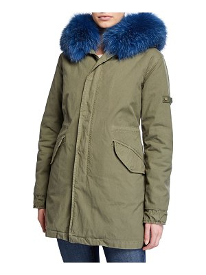 Mr & Mrs Italy New York Canvas Parka Coat with Removable Fox Fur