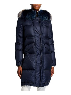 Mr & Mrs Italy Quilted Down Puffer Jacket w/ Fox Fur Trim