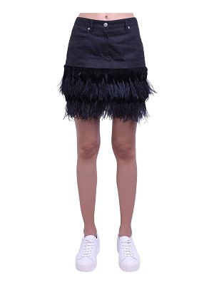 MR&MRS ITALY Cotton mini skirt w/feather details