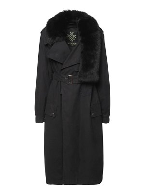 MR&MRS ITALY Long belted trench coat w/ fur collar