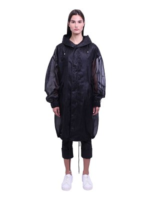 MR&MRS ITALY Long tech organza sheer parka coat