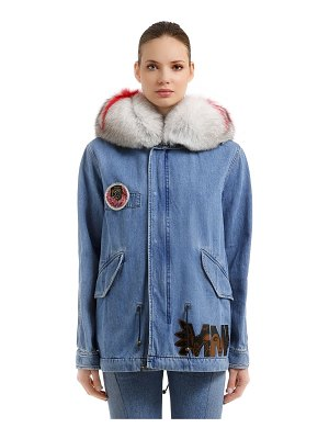 MR&MRS ITALY Midi canvas parka w/ fur & patches