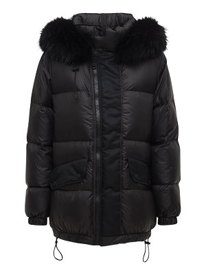 MR&MRS ITALY Nylon down jacket w/ fur trim