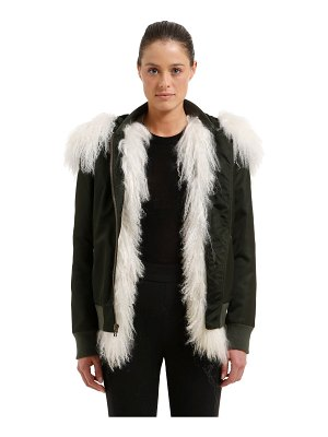 MR&MRS ITALY Slim fit bomber jacket w/ fur