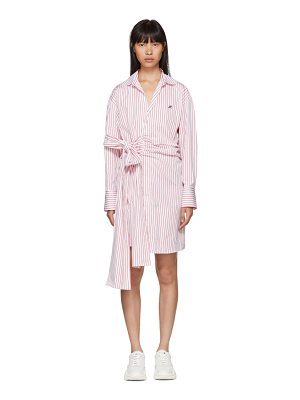 MSGM red and white striped belted shirt dress