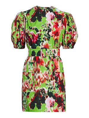 MSGM belted floral cotton puff-sleeve dress