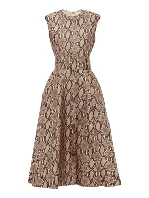 MSGM belted snake-print satin dress