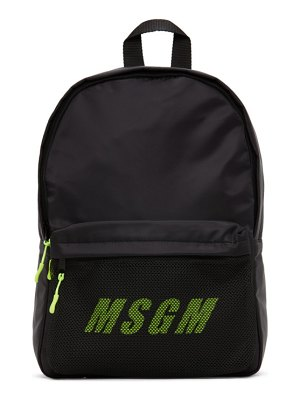 MSGM black and green logo backpack