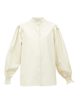 MSGM collarless balloon-sleeve faux-leather shirt