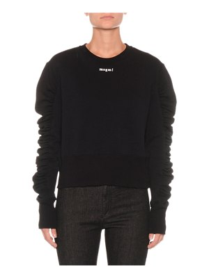 MSGM Cropped Ruffle-Sleeve Logo Pullover Top