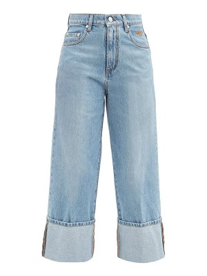 MSGM cropped turn-up wide-leg jeans