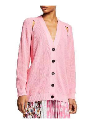 MSGM Cutout Knit Button-Front Sweater