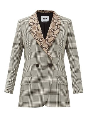 MSGM double-breasted snake-collar wool jacket