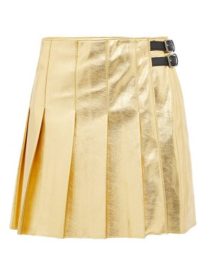 MSGM eco pleated faux-leather mini skirt