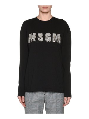MSGM Embellished Long-Sleeve Crewneck Top